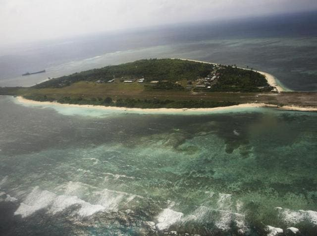 An aerial view shows the Pagasa (Hope) Island, which belongs to the disputed Spratly group of islands, in the South China Sea located off the coast of western Philippines.