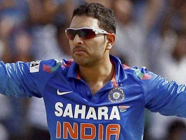Yuvraj Singh clebrates after dismissing Australia's Aaron Finch in Pune.