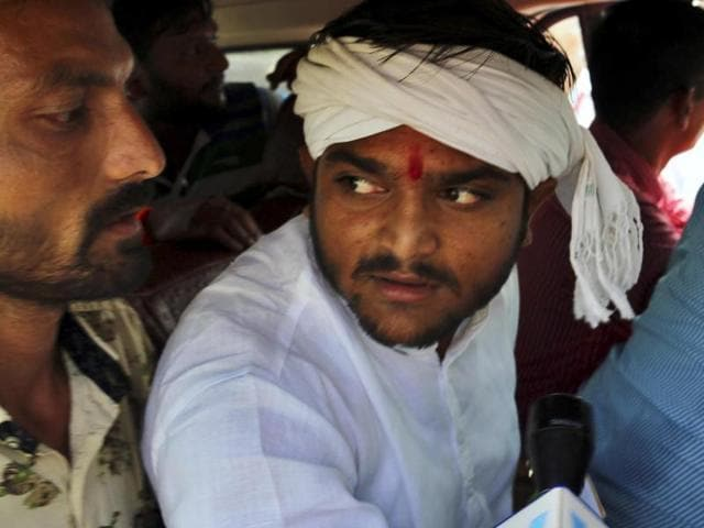 PHOTO AND CAPTION MADE AVAILABLE BY MOONMOON GHOSH - Patel quota agitation leader Hardik Patel was today detained by police while he was on his way to Khandheri Cricket Stadium in the city ahead of the India-South Africa One day international (ODI) match, in Rajkot, Gujarat, India. (HT PHOTO) *Photo received on Sunday, October 18, 2015.
