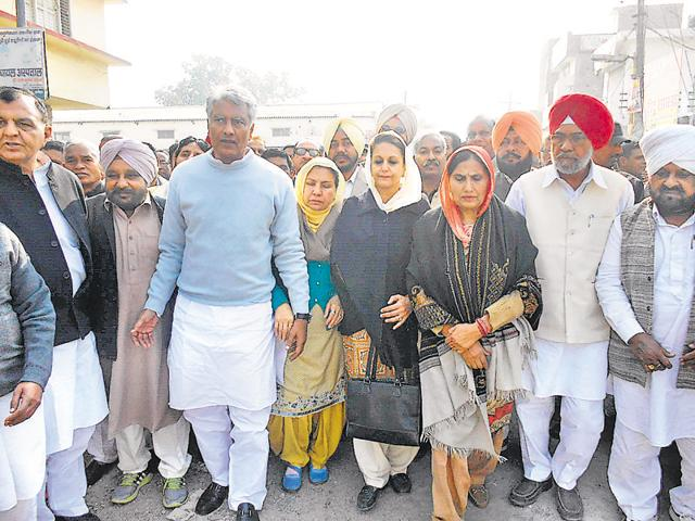 Congress leaders leading a protest march in Abohar on Monday.