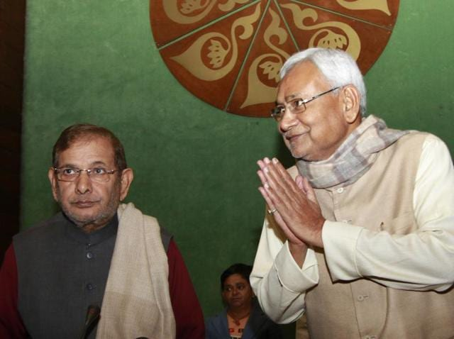 JD(U) President, Sharad Yadav with Chief Minister of Bihar, Nitish Kumar during their party leaders' meeting at Parliament House annexe. The party announced to replicate their Bihar model of anti-BJP alliances in the five Assembly elections scheduled for next year.