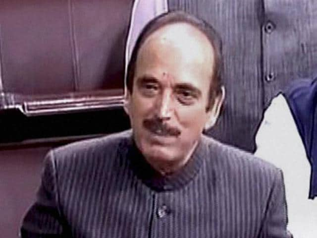 File photo of Ghulam Nabi Azad in the Rajya Sabha.
