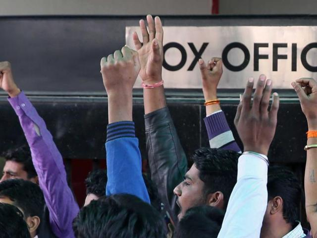 The protests were held in front of City Centre Mall, Forum Fiza mall and Bharat mall where the screenings had to be cancelled.