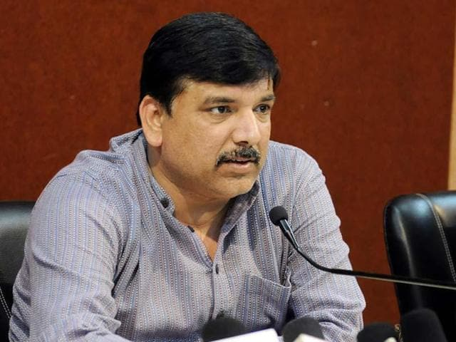 File photo of AAP leader Sanjay Singh. Singh tweeted that he would file an FIR against Arun Jaitley on Monday.