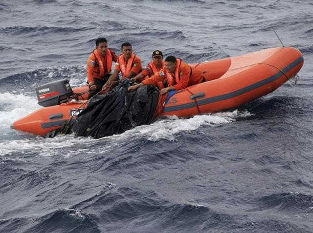 A rescue team takes part in a search for passengers and victims of a ferry sinking in the Gulf of Bone, near Kolaka.
