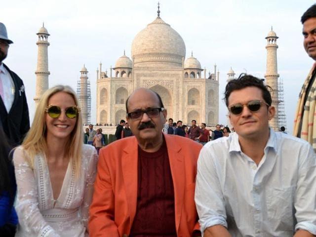 Actor Orlando Bloom with former Samajwadi Party leader Amar Singh at the Taj Mahal in Agra, on Sunday.