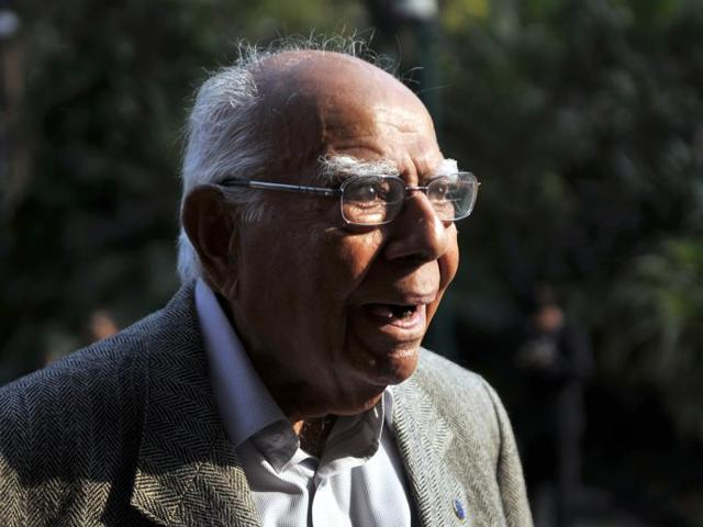 New Delhi, India - Dec. 21, 2015: Ram Jethmalani senior lawyer and MP Rajya Sabha will represent Arvind Kejriwal in the defamation case filed against him by Arun Jaitley.
