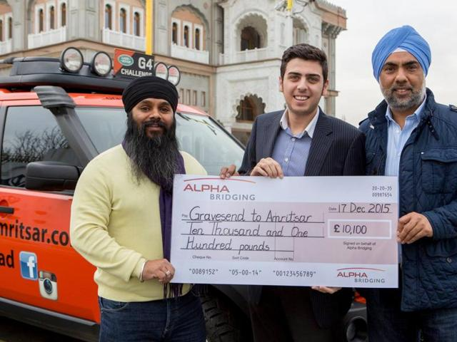 Jagjit Singh with a donor at Gravesend.