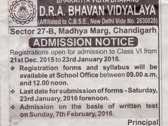 An advertisement issued by Bhavan Vidyalaya, Sector 27, Chandigarh, in a local daily on December 18.