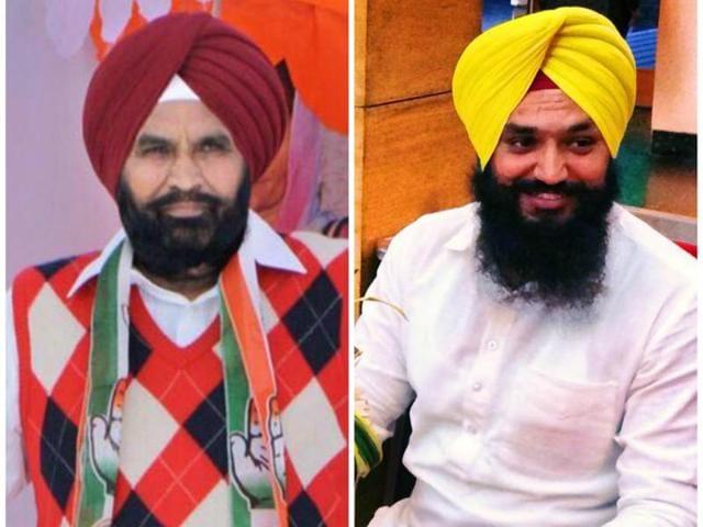 Moga district president Darshan Singh Brar (left) and his son Kamaljit Singh Brar (right).