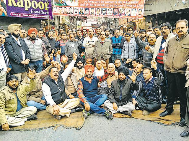 Jewellers held a protest in Ludhiana on Tuesday.