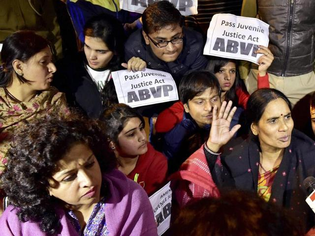 A day after a convict of the December 16 gang rape was released, people from all walks of life gathered at the Capital's protest hub -- Jantar Mantar -- to express their outrage and support the family of the gang rape victim.(PTI)