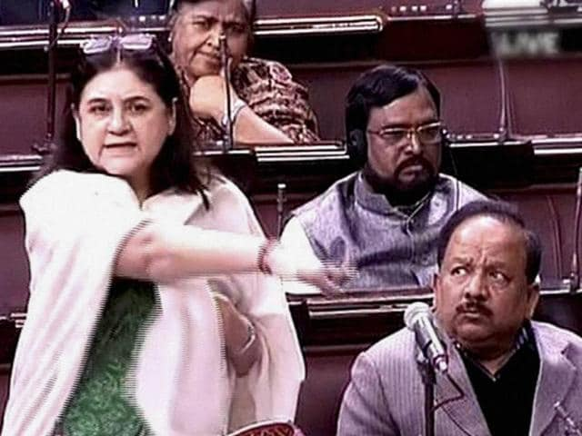 Union Cabinet Minister for Women & Child Development Maneka Gandhi speaks in the Rajya Sabha in New Delhi on Tuesday. The Upper House of Parliament passed the juvenile justice bill with voice vote.