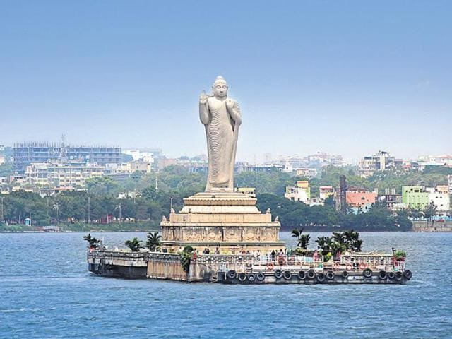 The Hussain Sagar Lake in Hyderabad.