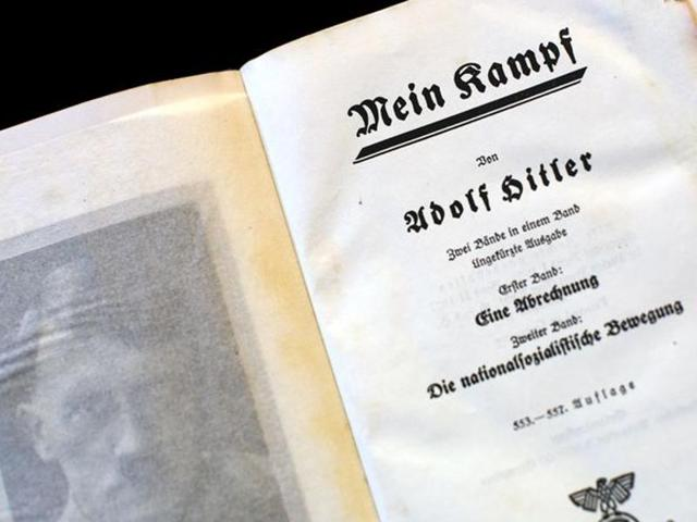 A copy of Adolf Hitler's book 'Mein Kampf' (My Struggle) from 1940 in Berlin.  The 70-year copyright on the text, written by Hitler between 1924-1926 and banned by the Allies at the end of World War II, expires at the end of the year.