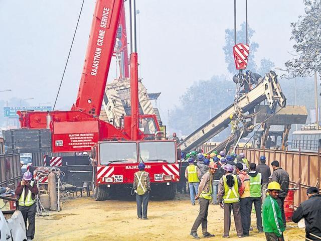 The machine was being used at the construction site of the 9.41-km Dilshad Garden to New Bus Stand Metro link.