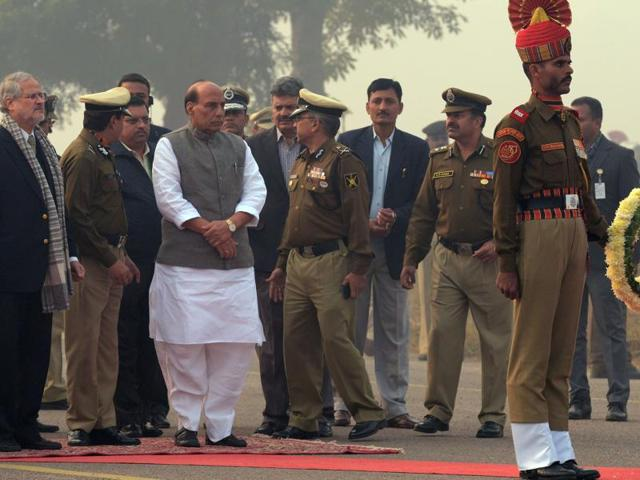 Rajnath Singh paid his condolences and met the family members of the troopers who were killed when the Border Security Force (BSF) plane crashed, shortly after take-off on Tuesday.