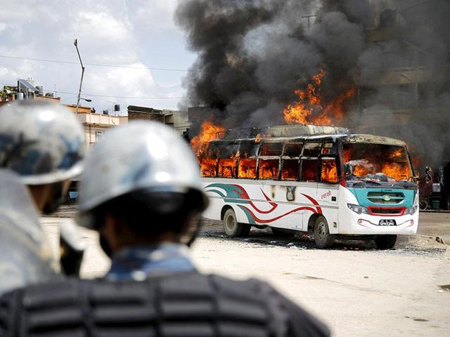 Police said the mob stopped the bus and set it afire after the vehicle hit retired teacher Manmath Medhi, killing him on the spot.