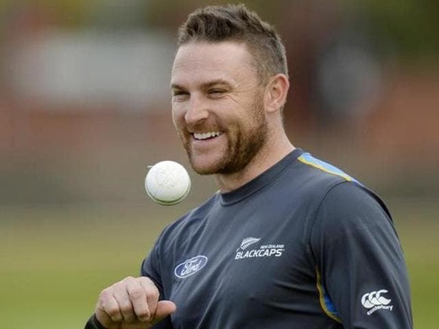A file photo  of New Zealand's cricket captain Brendon McCullum playing a shot during the 2015 Cricket World Cup match between New Zealand and Australia at Eden Park in Auckland.
