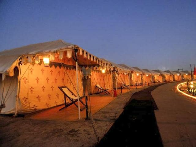 The Super Rajwadi accommodation is the latest attraction at the annual three-month-long desert festival in Dhordo's tent city.