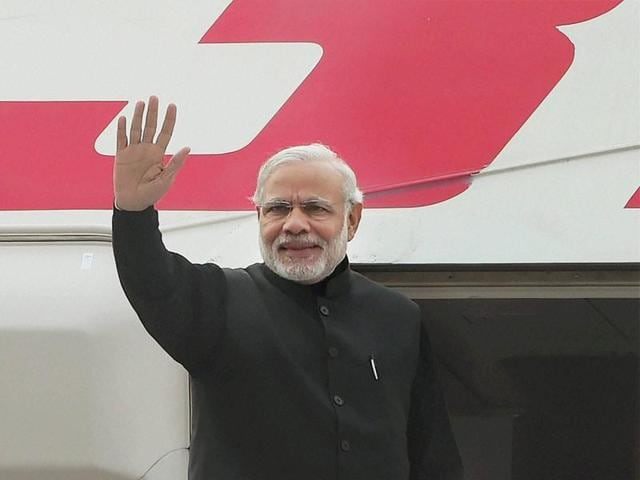 Prime Minister Narendra Modi at AFS Palam in New Delhi on Wednesday before his departure for Moscow.