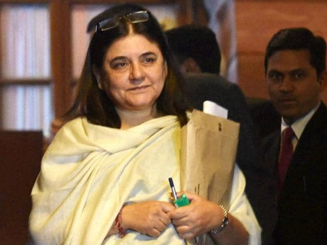 Maneka Gandhi, minister of women and child development, coming out of Parliament in New Delhi on Tuesday after Rajya Sabha passed the Juvenile Justice Bill.(PTI)
