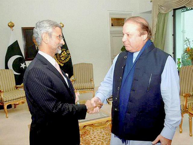 Pakistan Prime Minister Nawaz Sharif and Indian foreign secretary S Jaishankar shake hands, in Islamabad.
