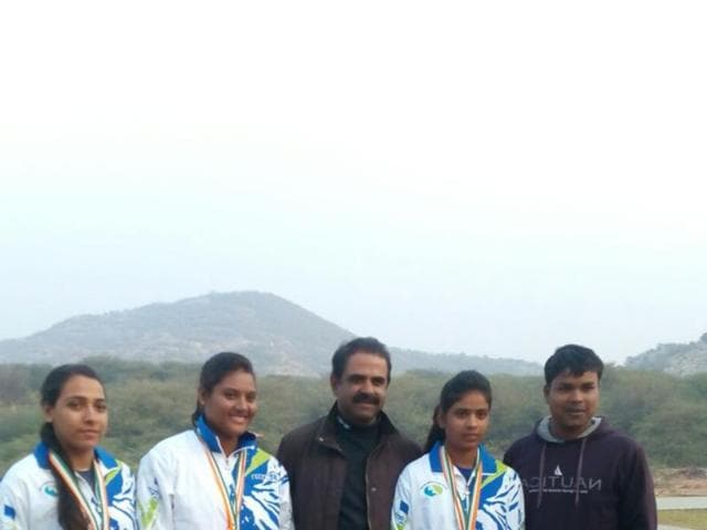 Shooters Manisha Keer, Shalini Yashwant and Anam Basit after winning gold medals in Jaipur.