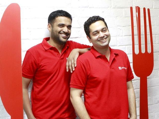 Zomato founders Deepinder Goyal and Pankaj Chaddah at their office in Gurgaon.