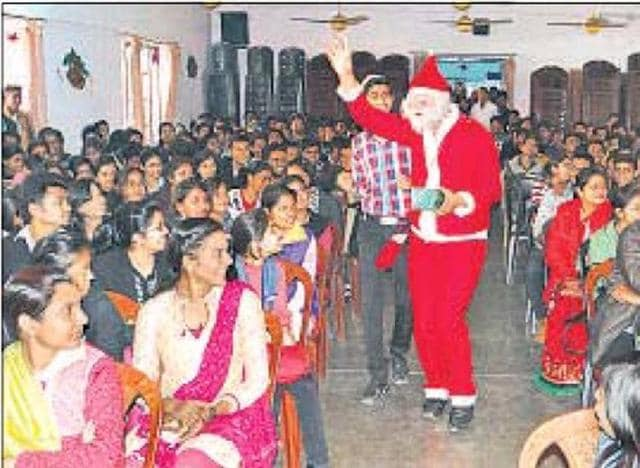 Students of various schools and colleges are busy singing Christmas carols and welcoming Santa Claus on their campuses as the educational institutions celebrate the festival.