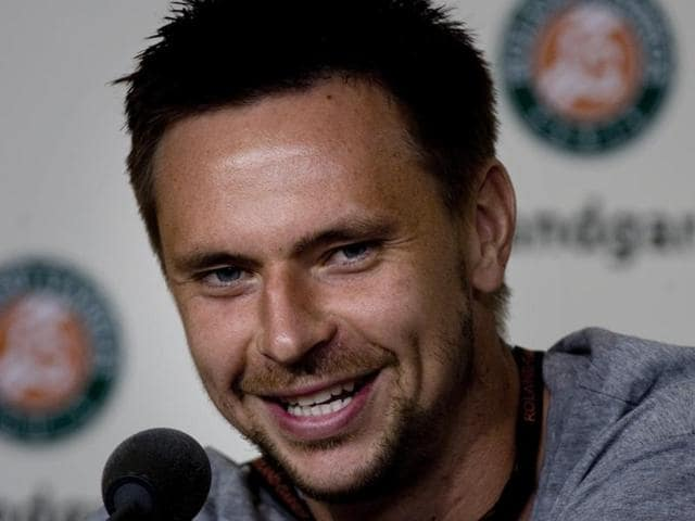A file photo of Robin Soderling at a press conference.