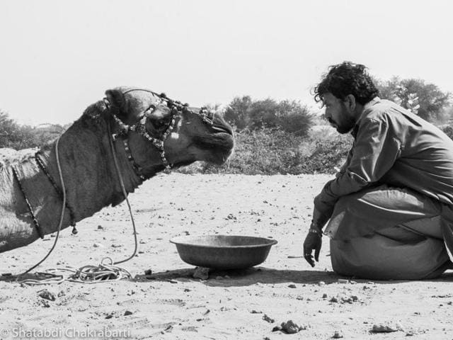 Irrfan Khan shoots for Anup Singh's film in Jaisalmer, Rajasthan.