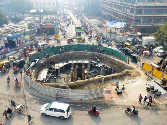 A view of the ongoing renovation work at Fawara chowk in Amritsar on Thursday.