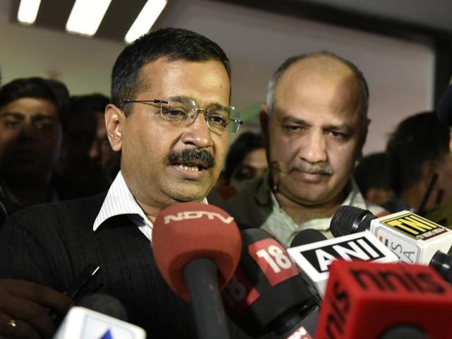Delhi chief minister Arvind Kejriwal along with deputy CM Manish Sisodia talks to journalists.