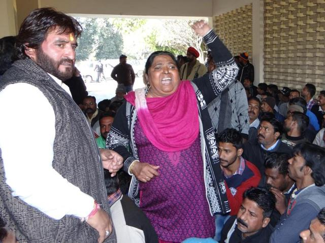 Safai workers holding protest at the entrance of Circuit House in Jalandhar on Thursday.