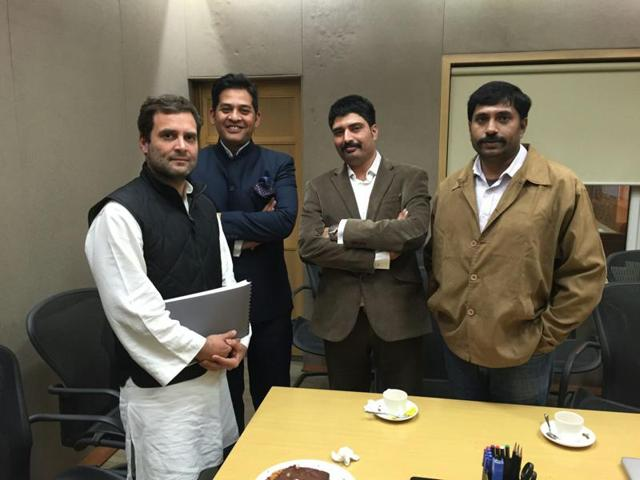 (From left) Activists Ashish Chaturvedi, Ajay Dubey, Prashant Pandey, Congress president Sonia Gandhi and Anand Rai at her residence in New Delhi on Wednesday.