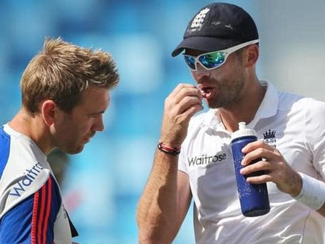 England's James Anderson in action against  Pakistan.