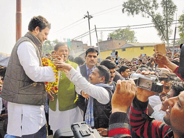 Congress vice-president Rahul Gandhi meets people during his visit to Amethi in Uttar Pradesh on Wednesday.