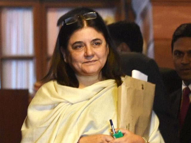 Maneka Gandhi, minister of women and child development coming out of Parliament in New Delhi on Tuesday after Rajya Sabha passed the Juvenile Justice Bill. She has asked the parliamentarians to work with the government to improve juvenile homes across the country.