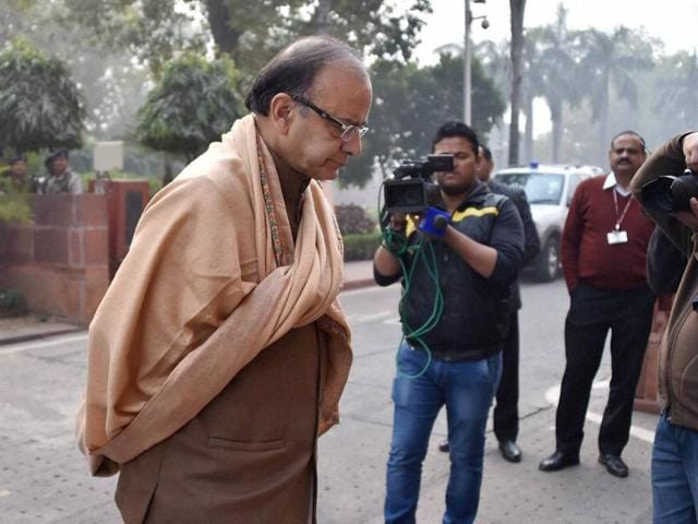 Finance minister Arun Jaitley during the winter session of Parliament in New Delhi on Wednesday.