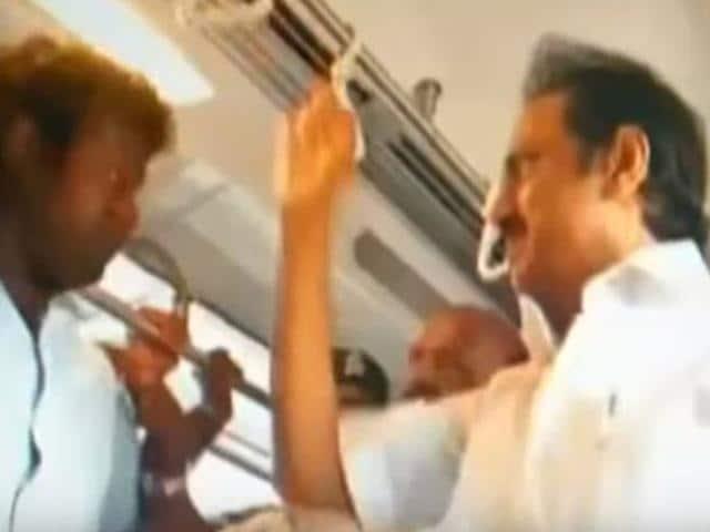 DMK leader, M K Stalin travelling in Chennai Metro