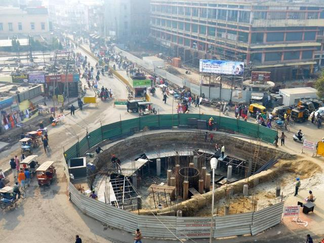 A view of the ongoing renovation work at Fawara Chowk