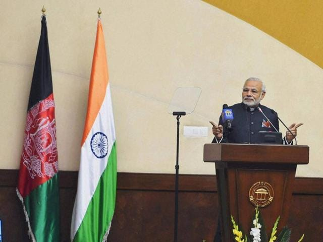 Prime Minister Narendra Modi addresses a joint session of the two Afghan houses in the Parliament in Kabul on Friday.