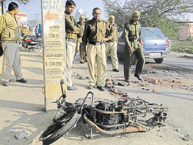 View of an accident site. Accident caused death of a kid on spot, in Narela, New Delhi.