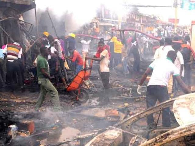 A gas tanker truck ignited an inferno at a crowded industrial gas plant in Nigeria on Thursday.
