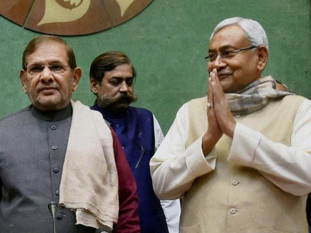 Bihar chief minister Nitish Kumar and deputy chief minister Tejashwi Yadav at a review meeting of Building Construction department in Patna on Wednesday.