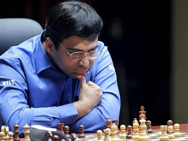 A file photo of Grandmaster Viswanathan Anand at the FIDE World Chess Championship tie break match at Moscow's Tretyakovsky State Gallery.