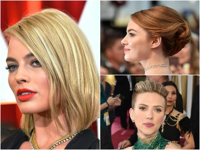 Margot Robbie and Emma Stone sporting beautiful hairstyles at separate red carpet events.