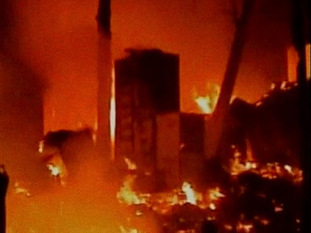 The fire broke out at around 6.45pm in the slum area under Baguihati police station limits, turned into a blaze after around ten LPG cylinders reportedly blasted off.