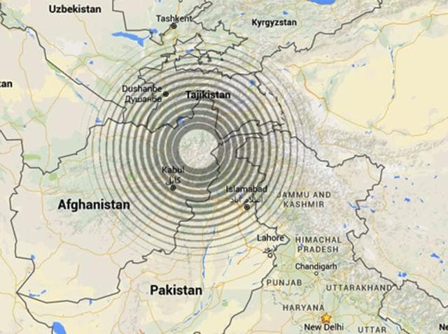 An earthquake with magnitude 6.2 occurred near Feyzabad, Afghanistan at 19:14:47.60 UTC on Dec 25, 2015